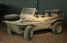 The Schwimmwagen was a German amphibious, all-wheel-drive vehicle. They were massed produced during World War II and were widely used by the German ground units. Over 15,000 were built