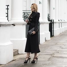 C/meo Collective Dress, Balmain Blazer, Saint Laurent Bag and Shoes, Dior Earrings, Finest Seven Aviators and & Other Stories Hair Clip