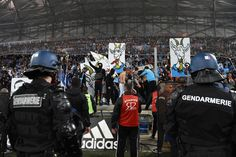 #Gendarmes and #stadium stewards take position as #Marseille #supporters react during the #French #Ligue1 football match Marseille vs #Bordeaux