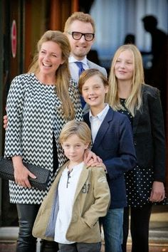 Dutch Prince Bernhard and Princess Annette with their children Isabella, Samuel and Benjamin (front) attend the christening of Prince Floris' son at Palace het Loo in Apeldoorn, The Netherlands, 09.11.2014.