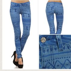 HPAztec patterned jeans! Host pick!  NEW! Light blue Aztec patterned jeans. Very stretchy and comfortable. Not to mention, one of the hottest prints this season. Made in USA.  No trades. Price is negotiable. Bundle and save more! Sku#2759 Watch LA Jeans Pants
