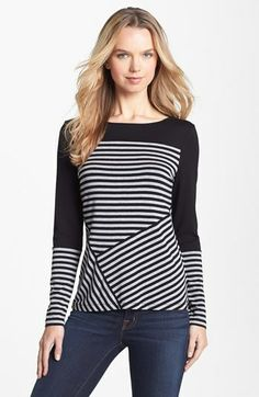 Vince Camuto Colorblock Asymmetrical Stripe Tee (Regular & Petite) available at #Nordstrom