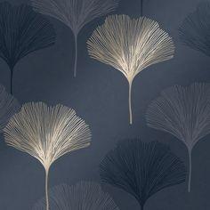Gingko Leaf Wallpaper Navy Gold - Wallpaper from I Love Wallpaper UK