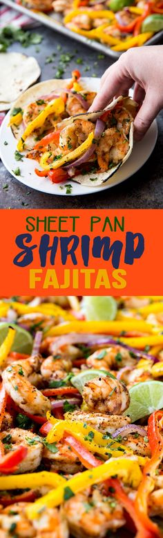 Sheet Pan Shrimp Fajitas - tender juicy shrimp with roasted bell pepper and onion served in a soft warm tortilla. Perfect easy dinner idea!