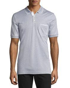 SALVATORE FERRAGAMO Cotton 3-Button Polo Shirt With Gancini Detail On Pocket, Gray. #salvatoreferragamo #cloth #