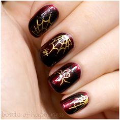 Glamorous Spider Web Nails. I love the blood red polish with the gold webs