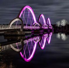 ljusarkitektur illuminates glowing solvesborg bridge in sweden