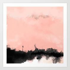 Square art. Pink / peach, black, grey and white abstract painting by Jules Tillman.