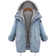 Felpa con cappuccio da donna taglie a due pezzi cappotto del denim - EUR € 28.83