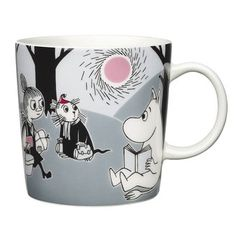 """Arabia's mug """"Adventure move"""" (Seikkailu muutto) with elegant shape and kind motif from the Moomin world. Charming pottery from Finland. Secure payments and worldwide shipping within 24 hours. Moomin Shop, Moomin Mugs, Les Moomins, Moomin Valley, Tove Jansson, Porcelain Mugs, New Adventures, Finland, Illustrator"""