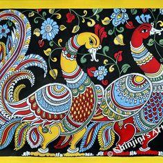 Shinjini`s Art – Indian Folk Art (Madhubani, Kalamkari, Gond) Madhubani Paintings Peacock, Kalamkari Painting, Madhubani Art, Indian Art Paintings, Cool Paintings, Gond Painting, Abstract Tree Painting, Kerala Mural Painting, Fabric Painting