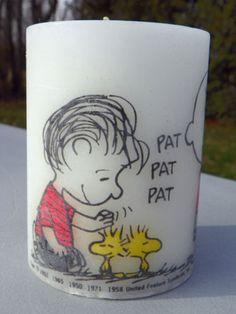 Linus patting Woodstock's head - 1970s Hallmark candle