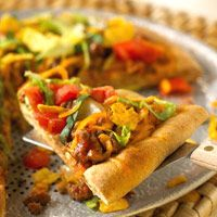 Easy Taco Pizza*** yummy. Use homemade taco seasoning. Add crushed chips afters baking. Top with tomatoes and lettuce.