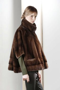 Scan Brown Mink Fur Poncho