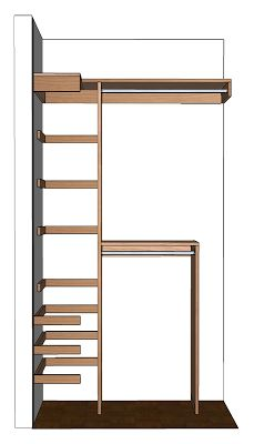 much bigger and more elaborate, but similar to the shelving ideas for your hot water heater closet...DIY Small Closet Organizer Plans