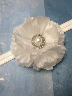 White Crinkle Silk Flower Headband by ThePetitBowtique on Etsy, $8.00