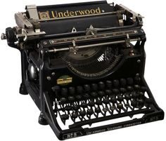 Underwood Typewriter N°5 - J'en possède deux, dont l'une provenant de la Papeterie Benoist, rue des Déportés à Landerneau - Revendeur agréé Olivetti - Machines à écrire portables, additionneuses à main, additionneuses électriques, duplicateurs à alcool.