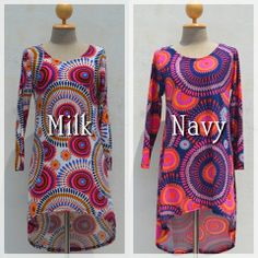 Psychedelic vivid colors Dress-milk & navy-  @naturaleeza.com  #dress #psychedelic #fashion