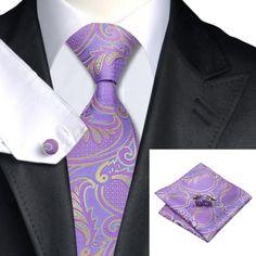 Галстук фиолетовый с голубым и латунным + платок и запонки - купить в Киеве и Украине по недорогой цене, интернет-магазин