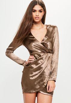 Missguided - Bronze Satin Long Sleeve Wrap Dress