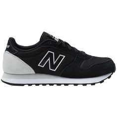 New Balance 311 Lace-Up Sneakers ($48) ❤ liked on Polyvore featuring shoes, sneakers, black, new balance sneakers, rubber sole shoes, black trainers, black lace up shoes and lacing sneakers