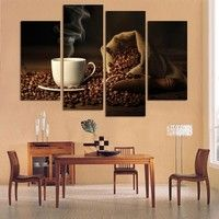 Wish | 4 Panels Modern Printed Coffee Canvas Art Painting Picture Cuadros Kitchen Home Decor Wall Art For Living Room Unframed