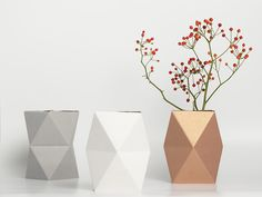 geometric vase covers made out of paper -- just fold & place over a small glass of water