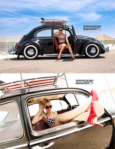 VW black Beetle # sexy pin up # pin-up # legs # heels # perfect ♠... X Bros Apparel Vintage Motor T-shirts, Volkswagen Beetle & Bus T-shirts, Great price… ♠