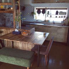 momさんの、Overview,植物,キッチン棚,DIY,セルフリフォーム,中古住宅,壁紙屋本舗,ダイニングテーブルDIYについての部屋写真