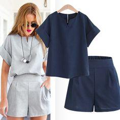 comprar 2018 mujer verano algodón v-cuello manga corta tops + shorts dos piezas Set mujer Oficina suit set mujeres trajes de