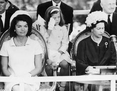Jackie with Caroline Kennedy and HRH Queen Elizabeth II