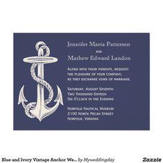Blue and Ivory Vintage Anchor Wedding Invitation
