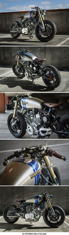 Somewhere between a bobber and a cafe racer Moto Racer, Virago Cafe Racer, Yamaha Cafe Racer, Cafe Bike, Moto Bike, Cafe Racer Motorcycle, Motorcycle Cake, Motorcycle Jeans, Motorcycle Camping
