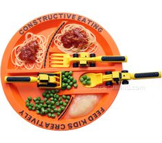 For little boys: Constructive Eating Plate and Utensils set with a fork lift fork, a front loader spoon, a bulldozer pusher and a constructive eating plate.