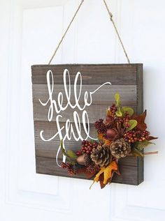 Wooden Board: Branch out from the traditional wreath with a door hanger that displays the season's greetings. Click through for more festive fall wreaths! Fall Door Hangers, Fall Projects, Diy Projects, Hello Autumn, Fall Wreaths, Door Wreaths, Ribbon Wreaths, Tulle Wreath, Floral Wreaths