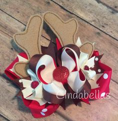 Christmas Stacked Boutique Hair Bow - Reindeer by CindabellasBoutique on Etsy
