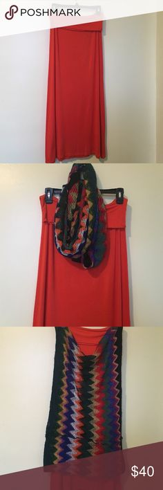 2 piece bundle scarf and skirt This beautiful orange skirt with it colorful scarf is ready to go size small I wear this twice and everyone love it, machine washable Tabeez Skirts Maxi