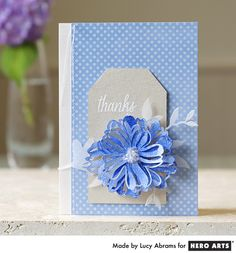 Floral Thanks  By Lucy Abrams - Scrapbook.com - Die cut and stamp to make a beautiful thank you card.