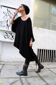 Surdimensionné lâche Blouse noire Extra Large / tunique par Aakasha