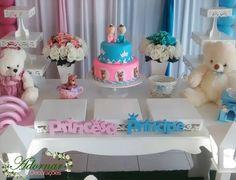 Decoração Chá de Bebê Revelação Rosa e Azul Baby Gender Reveal Party, Reveal Parties, Kids And Parenting, Cake, Pregnancy, Alice, Baby Shower Deco, Gender Reveal, Baby Gender Revealing