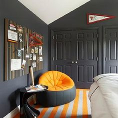 Orange And Gray Room Contemporary Boy S Suzanne Lovell Grey Boys Rooms