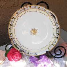 Nippon Cake plate Hand Painted Plate Made in by LoveCareHandmade
