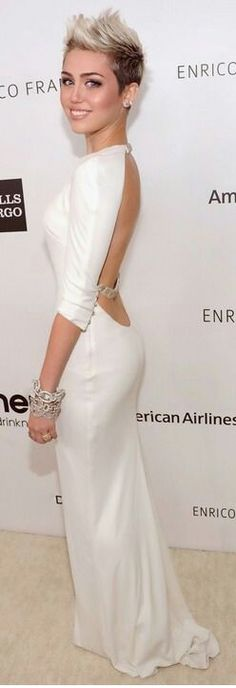Miley in decent white dress