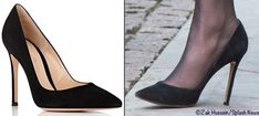 Kate wore her Gianvito Rossi black suede heels at this afternoon's service. The Signature Pumps are a point toe style with a 4″ heel.