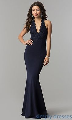 Shop long mermaid prom dresses with lace halter bodices at Simply Dresses. Open-back formal evening dresses under $100 with scalloped v-necks.