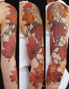 leaf autumn sleeve tattoo... beautiousness <3