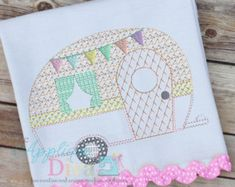 Vintage Stitch Glamping Camper Digital Embroidery Design Machine Applique