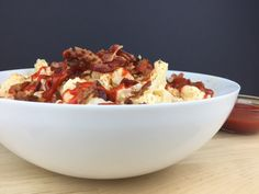 """Print Low Carb Bacon Sriracha """"Potato"""" Salad Author:LC Foods Recipe type:Side Dish Cuisine:American Prep time: 30 mins Cook time: 15 mins Total time: 45 mins Serves:6  Try this low carb """"potato"""" salad with a kick, made with cauliflower and sriracha chili sauce. Perfect for your next cookout, picnic or barbecue! Ingredients 3 lbs cauliflower... Read more →"""