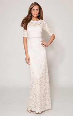 Blush 3/4 Sleeve Lace A-Line Gown | Teri Jon