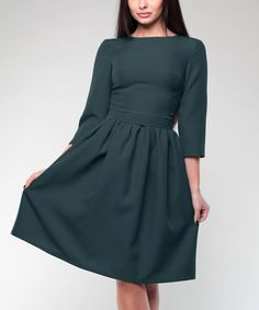 This Laura Bettini Dark Emerald Boatneck A-Line Dress - Plus Too by Laura Bettini is perfect! #zulilyfinds